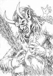 Image is of a male expressing humanoid monster. It has long goat-like horns on it's forhead, a mouth full of teeth like a lion, a pointy curved in nose, long pointed ears and is covered in fur. It's hands are shackled and in one he's holding whips, the other is the strap to the satchel over his back which appears to be holding children. He is grimacing with sadistic glee.