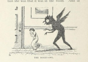 Image is a old (1920's era) print of a young child being chased down a hallway by the shadow of a manshaped creature with wings on it's back and an owl like head.