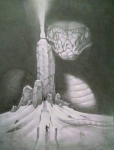 A giant multi-eyed snake pears out from behind a basalt tower
