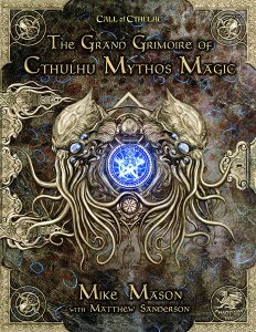 Book cover featuring silver embossed tenticaled things, looks to be an ancient grimoire